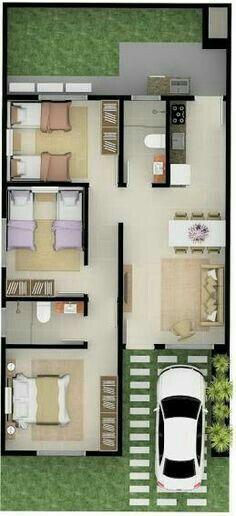 Plano con cocina larga, tres habitaciones y dos baños