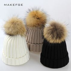 69741f2df8e Buy Real Fur Winter Hat Raccoon Pom Pom Hat For Women Brand Thick Women Hat  Girls Caps Knitted Beanies Cap Wholesale 2017 new 9275 Check Link