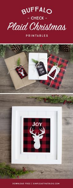 Add a little rustic, outdoorsy flair to your holiday decor and gift wrapping with these free buffalo check plaid Christmas printables.