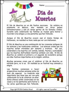 Día de los Muertos. Bilingual Reading, Vocabulary, Grammar, and more for the Spanish language class.