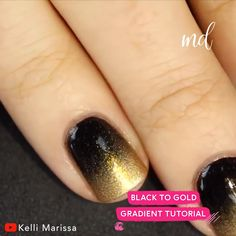 How to do - Red to Black & Black to Gold Gradient Nail Art! By @kelli_marissa