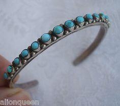 Delicate Vintage NAVAJO Sterling Silver Turquoise Petit Point Cuff Bracelet Handstamped   eBay