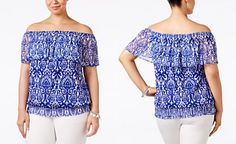 INC International Concepts Plus Size Off-The-Shoulder Printed Top, Only at…