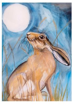 Moon Gazing Hare Limited Edition Signed Print by BellaArtBespoke