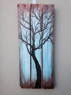 Items similar to Oak Pallet Tree Painting on Etsy - Modern Pallet Tree, Wood Pallet Art, Pallet Painting, Wood Painting Art, Wooden Art, Wood Plank Art, Easy Flower Painting, Fence Art, Tree Wall Decor