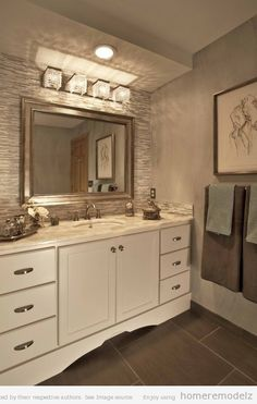 From The Countertop To The Light Fixtures This Bathroom Is Beautiful