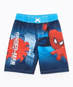 Look what I found on #zulily! Blue Spider-Man Swim Trunks - Toddler #zulilyfinds