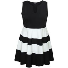 Yoursclothing Plus Size Womens Monochrome Block Stripe Skater Dress ($65) ❤ liked on Polyvore featuring dresses, vestidos, colorblocked dress, colour block dress, colorblock dress, color block dresses and striped dresses