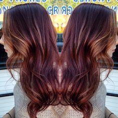Mahogany hair with some carmel framing highlights