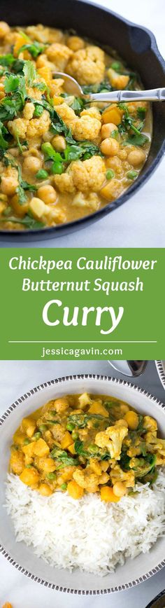 Chickpea Cauliflower Butternut Squash Curry - A vegetarian Indian recipe simmered in coconut milk with aromatic spices and served with basmati rice | http://jessicagavin.com