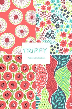 Coordinating patterns in a fun tropical color palette and modern patterns