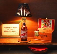 Red Stripe Beer Bottle Lamp Light FREE US SHIPPING by BrewLamps, $47.00