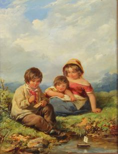 """Lot 4403, 19th Century Continental oil painting on panel, a study of children by a stream playing with toy boats, unsigned, 12"""" x 9"""", Est £100-200"""