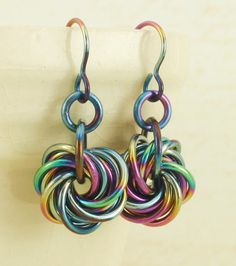 Eternity Earrings - Peacock Niobium - Hypoallergenic