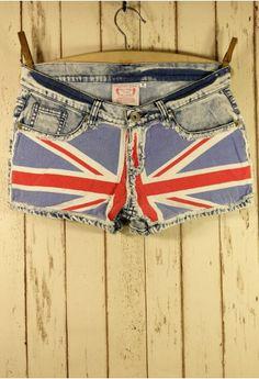 Union Jack Flag Washed Denim Shorts