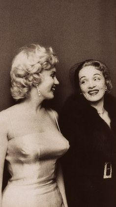 Marilyn Monroe & the legendary Marlene Dietrich, at the launch of Marilyn Monroe productions. (1955) Both were friends of the columnist Sidney Skolsky as well as Milton Greene. Other guests included gossip columnist & society hostess Elsa Maxwell, playwright Sidney Kingsley, composer Richard Rodgers & photographer Sam Shaw.   'Of Women and their Elegance' by Norman Mailer , with photos by Milton H. Greene (1980) (please follow minkshmink on pinterest) #marilynandmarlene