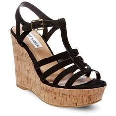 Steve Madden Nalla Wedge Fisherman Sandals ($45) ❤ liked on Polyvore featuring shoes, sandals, wedges, black, ankle strap wedge sandals, black cork wedge sandals, black wedge sandals, wedge sandals and steve-madden shoes