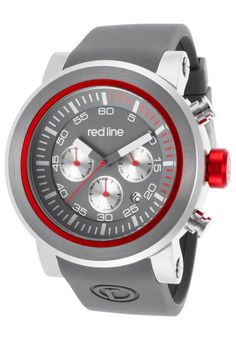 Red Line Torque Sport Chronograph Grey Dial and Silicone Strap Silver-Tone CaseRed Line 50050-014 Watch