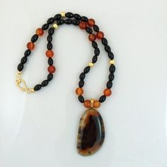 Black and Orange Agate Pendat Necklace on Beaded by Rock2Gems