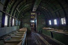 Interior of the C-47 at the Lyon's Air Museum at John Wayne Airport in Orange County.