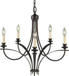 Murray Feiss F1888/5ORB Oil Rubbed Bronze Boulevard Wrought Iron 5 Light Chandelier - LightingDirect.com