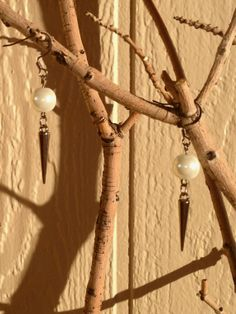White Pearl and Metal Spike Earrings by RebelScumPrincess on Etsy, $12.00