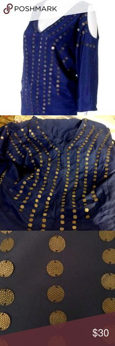 sparkle + fade // cold shoulder embellished top NWOT Sparkle + Fade navy cold shoulder top with textured gold coin embellishment. Fully lined, 100% polyester. From Urban Outfitters, never worn, no flaws. Sparkle & Fade Tops