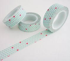 Single roll of washi masking tape with mini hearts pattern in light blue and red. Great for travel journals, scrapbooking, gift wrapping, decorating cards and envelopes and more! Add a little dash of