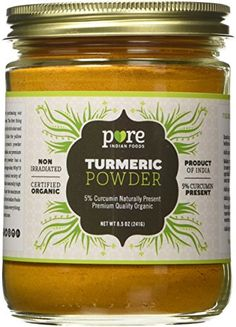 Organic Turmeric Powder Spice 8.5 oz - Freshly Packed in Glass Jar - Minimum 5% curcumin. Pure Indian Foods