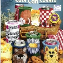 Vintage Plastic Canvas Patterns, Cute Can Covers by Debbie Tabor Drink Can Holders/ American School of Needlework Plastic Canvas Books, Plastic Canvas Tissue Boxes, Plastic Canvas Crafts, Plastic Canvas Patterns, Plastic Craft, Craft Patterns, Vintage Patterns, Sewing Patterns, Magazine Crafts