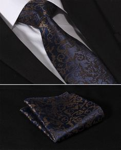 "TF2014B8 Navy Blue Brown Paisley Floral 3.4"" Silk Lots Wedding Gravata Mans Tie Necktie Pocket Square Handkerchief Set Suit"