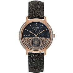 Guess Women's Round Stainless Steel and Leather-Strap Watch (1,855 MXN) ❤ liked on Polyvore featuring jewelry, watches, black, stainless steel watches, guess watches, stainless steel wrist watch, guess jewelry and rose gold tone watches