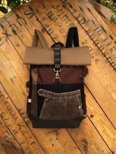 New  Brown   beige upcycled roll top rucksack using the front part from a  brown corduroy men s trousers and brown cork fabric 7d0df36540d1d