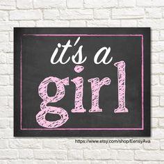 It's a Girl Chalkboard Sign  Gender Reveal Photo Prop  by EensyAva