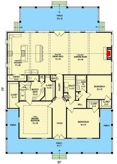Charming Southern House Plan with Front and Back Porches - floor p. Charming Southern House Plan with Front and Back Porches - floor plan - Main Level Pole Barn House Plans, Pole Barn Homes, New House Plans, Dream House Plans, Small House Plans, House Floor Plans, Dream Houses, Square House Plans, Square Floor Plans