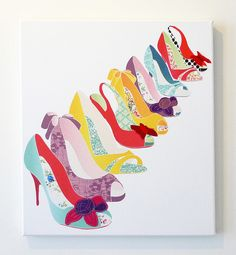 "fun quilt, since quilting is supposed to be fun, right?  Great idea!  Especially since the term, ""comfortable, attractive"" shoes  is an oxymoron! Quilting Tutorials, Quilting Projects, Art Projects, Small Quilts, Applique Quilts, Fabric Art, Quilt Making, Canvas Art Prints, Textile Art"