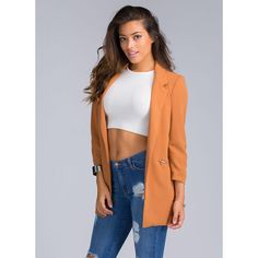 Update Me Boyfriend Blazer CAMEL ($37) ❤ liked on Polyvore featuring outerwear, jackets, blazers, tan, 3/4 sleeve jacket, 3/4 sleeve blazer, tan jacket, boyfriend blazer and stretch blazer