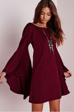 PREMIUM Wine Flared OVERSIZE BELL SLEEVE Tunic Shift Hippie Loose Gypsy Dress S #FashionTwenty #Shift #Casual