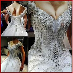 Gorgeous Luxurious Swarovski Crystals Bridal Wedding Dress #ShopSImple