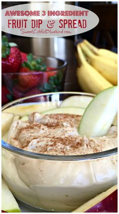 AWESOME 3 INGREDIENT FRUIT DIP & SPREAD (Made with Cream Cheese) - This recipe is as simple as they get and fantastic! Made with 3 ingredients and ready in about 3 minutes! The perfect dip to serve at parties, picnics, potlucks, brunches, showers and other social gatherings. | http://SweetLittleBluebird.com