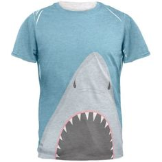 Summer Shark Attack Teeth All Over Heather White Adult T-Shirt - X-Large, Multi