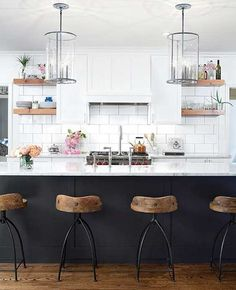 Arteriors Hinkley Swivel Bar Stool for $552 vs DecMode Round Low Back Metal Barstool for $69 Copy Cat Chic look for less budget home decor and design  http://www.copycatchic.com/2016/11/arteriors-hinkley-bar-swivel-stool.html?utm_campaign=coschedule&utm_source=pinterest&utm_medium=Copy%20Cat%20Chic&utm_content=Arteriors%20Hinkley%20Swivel%20Bar%20Stool