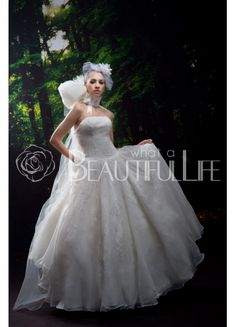 $223.99 Strapless Satin And Organza #Ball #Gown #Wedding #Dress With Galaxy Beading