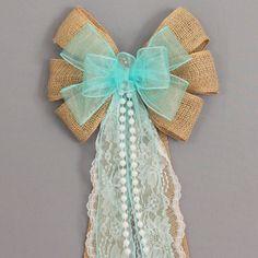 Burlap Lace Pearls Aqua Rustic Wedding Bows Pew Church Aisle Decorations