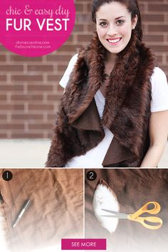 It's time to retire that puffy jacket this season for a DIY fur vest that will keep you chic, warm, and guilt-free—it's faux, after all! It's time to cozy up in this versatile layering piece. This easy tutorial will help you make a DIY fur vest in minutes! - DivineCaroline.com