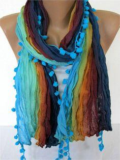 SALE ! 9,90 USD-Multicolor Scarf -- Shawl Scarf -   Cowl Scarf bridesmaid gift- Women's fashion - Pompom Scarf