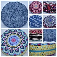 farbige, fröhliche Sitzkissen von buntspatz.  Gefüllt mit Bio-Dinkelspreu. Bunt, Peacocks, Cotton Fabric, African, Fabrics, Cotton