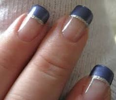 navy blue french manicure - Google Search