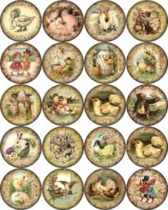 """Vintage Easter pictures on round asst. size bottle caps 63 1"""", 30 1.5"""" 20 2"""" #2"""