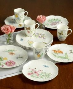 Lenox Butterfly Meadow 18 Piece Set Service for 6 $129.99 Spread springtime cheer from one season to the next with America's most popular dinnerware pattern. Inspired by the art of Louise Le Luyer, these romantic garden motifs easily lend themselves to mixing and matching. Monarchs, dragonflies and more flutter across gleaming white porcelain, giving any table an elegant update that's also dishwasher and microwave safe. And with service for six, there's even more to love!
